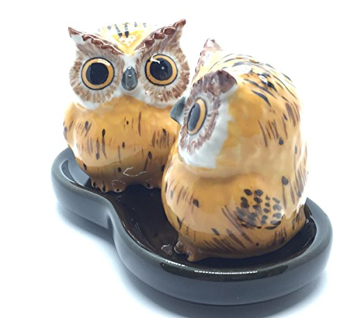 Mexican Pine Armoire (Cute Small Ceramic Owl Salt and Pepper Shakers Set Hand Painted T2 (Yellow),Tiny salt and pepper shakers)