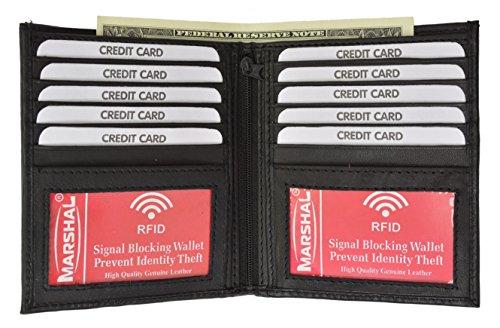 RFID Men's Genuine Leather European Bifold Wallet Slim Hipster 2 Windows Bk