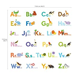 Decowall DAT-1608 Watercolour Animal Alphabet Peel and Stick Nursery Kids Wall Decals Stickers