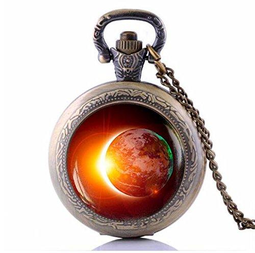 51kKcjIVoUL - Solar Eclipse Pocket Watch Necklace Alloy and Glass Material Jewelry Sun Mens Clock Pendant