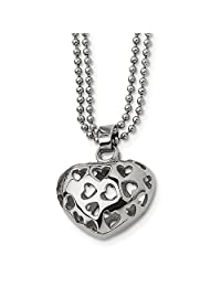 Stainless Steel Heart Cutouts 22 Inch Chain Necklace Pendant Charm S/Love Fashion Jewelry Gifts for Women for Her