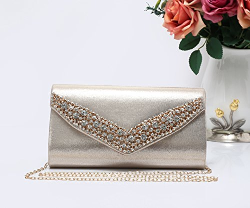 Evening Clutch Lightweight Shape Envelope Bag Black Foxlady's Women's Gold2 and Glitter V YqY8Oa