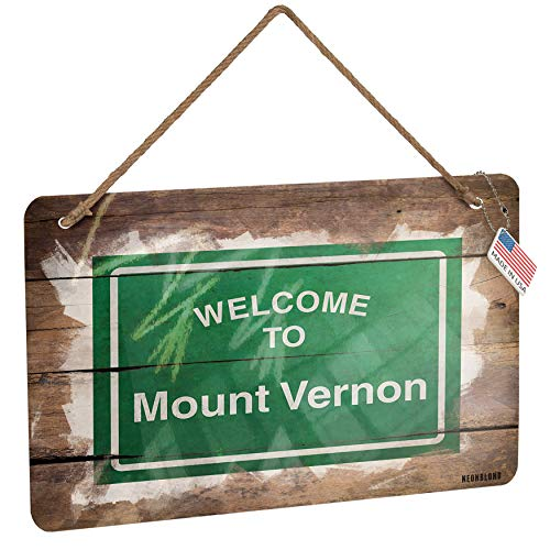 NEONBLOND Metal Sign Green Road Sign Welcome to Mount Vernon Christmas Wood Print