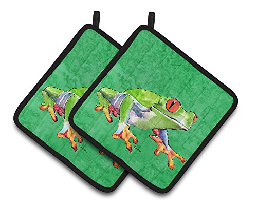 Frog Quilted (Caroline's Treasures Frog Pair of Pot Holders 8688PTHD, 7.5HX7.5W, Multicolor)