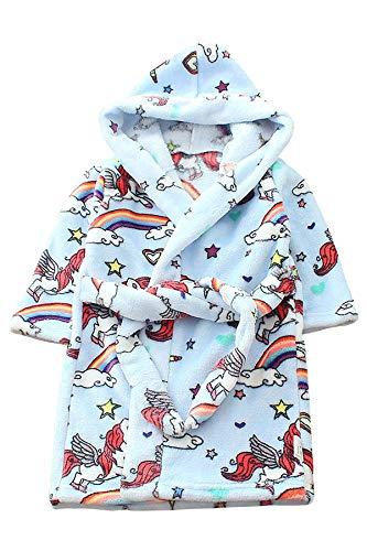 JYUAN Kids Unicorn Robe Hooded Bathrobe Soft Warm Plush Flannel Fleece Bath Robe Halloween Cosplay Costume for Girls Boys -