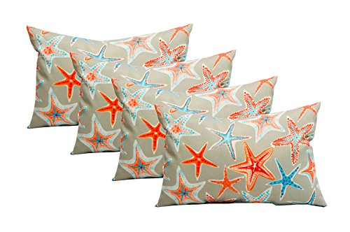 Resort Spa Home Decor Set of 4 Indoor Outdoor Decorative Lumbar Rectangle Pillows – Pewter Grey Starfish