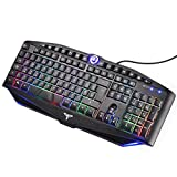 [New Version] TopElek Gaming Keyboard UK Layout, 19 Anti-ghosting &14 Multimedia Buttons, RGB Backlit 7 Colors LED Continuous Light & Breathing Light Mode, Switchable WASD and Arrow Keys