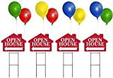 OPEN HOUSE Sign Kit with Balloons - House Shape Corrugated Sign INCLUDES 4 24'' Sign Stakes, 4 OPEN HOUSE Signs, 8 Balloonies, and 16 Balloons (Red)