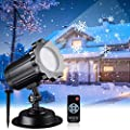 Snowfall LED Light Projector, Christmas Rotating Snowflake Projector Lamp with Remote Control, IP65 Waterproof White Snow for Decoration Lighting on Halloween Holiday Birthday Wedding Party