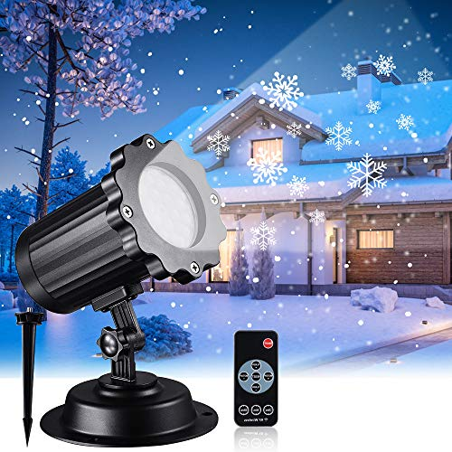 Snowfall LED Light Projector, Christmas Rotating Snowflake Projector Lamp with Remote Control, IP65 Waterproof White Snow for Decoration Lighting on Halloween Holiday Birthday Wedding Party (Best Christmas Light Projector)