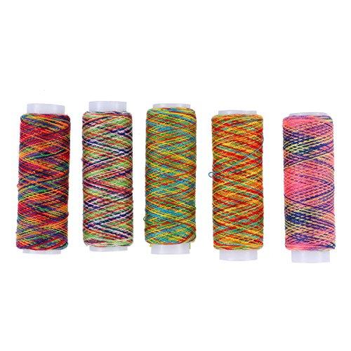 HEALIFTY 5本のポリエステル縫い糸ライン手縫い刺繍糸レインボーカラー