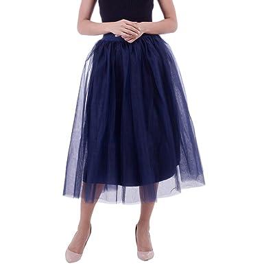 IZHH - Falda - Enaguas - para Mujer Azul Azul Marino Talla única ...