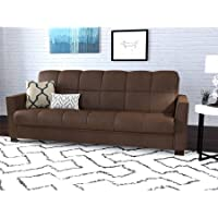 Folding Sofa Bed Couch Sleep Convertible Futon to Full Size Bed, Steel Frame, Stain Resistant Microfiber,Multiple Colors, Ideal for Living Room,Small Apartments, BONUS E-book (Dark Brown)