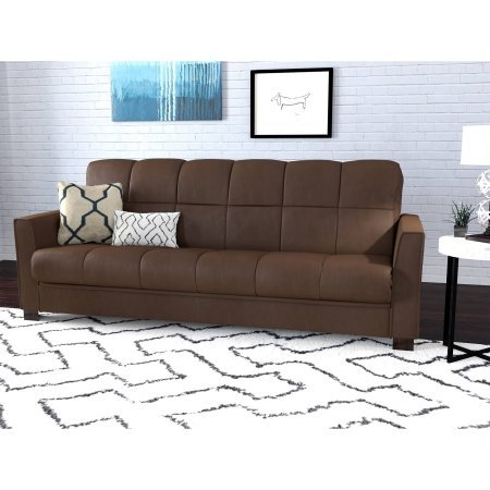 Folding Sofa Bed Couch Sleep Convertible Futon to Full Size Bed, Steel Frame, Stain Resistant Microfiber,Multiple Colors, Ideal for Living Room,Small Apartments, BONUS E-book (Dark Brown) (Brown Microfiber Folding Futon Bed)