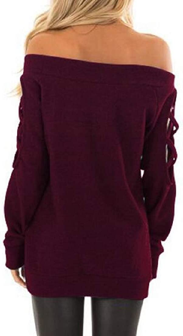 Rrive Womens Fall-Winter Solid Color Long Sleeve Off Shoulder T-Shirt Hollow Out Top Blouse