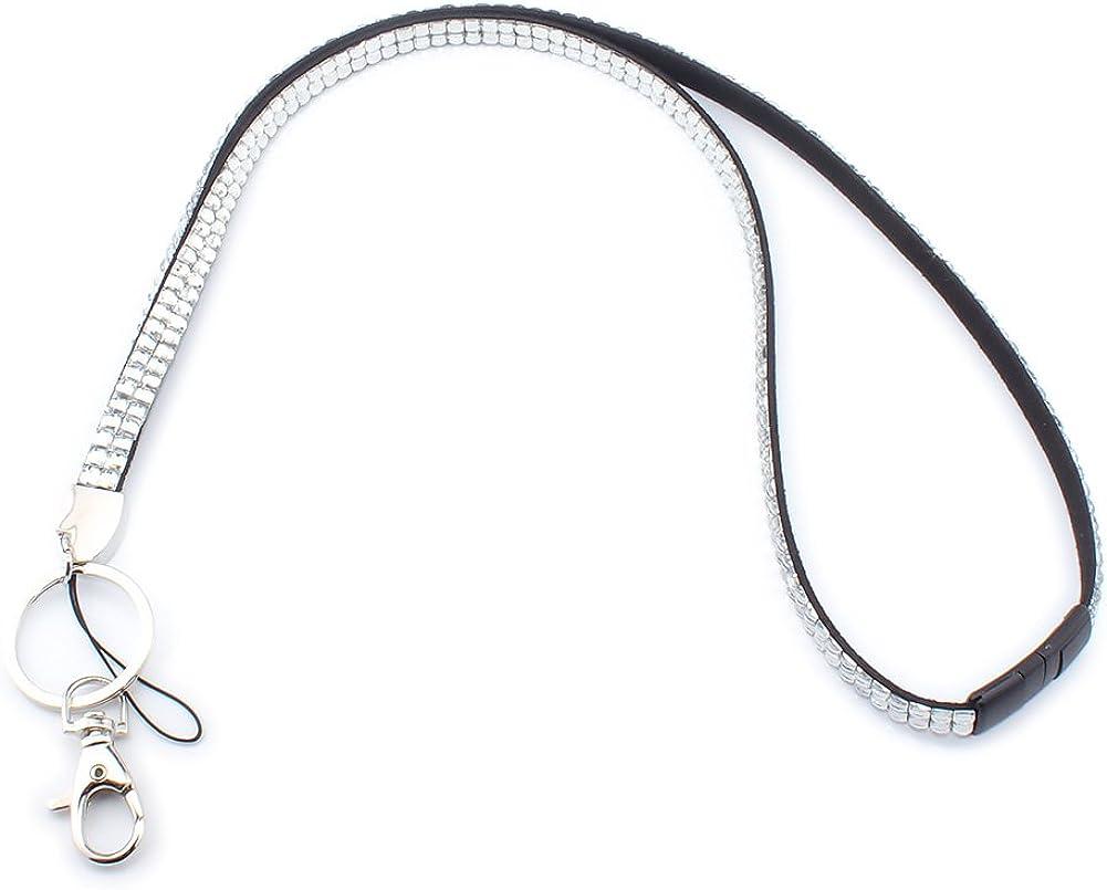 Soleebee Correa Para el Cuello de Cuero 80cm Cristal Diamante de Imitacion Con cierre de seguridad Separarse Para Titular de Insignia y Llaves