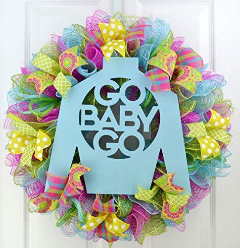 Kentucky Derby Jockey Silks - Kentucky Derby Jockey Silk Go Baby Go Door Wreath; Pink Yellow Turquoise Green