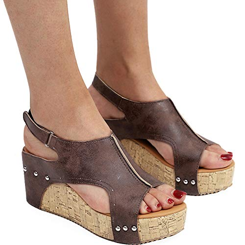 Athlefit Women's Cutout Belt Wedges Sandals Platform Faux Leather Cork High Heels Size 10.5 Brown