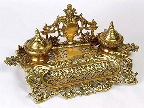 Importing Antique Brass - AA Importing 51697 Double Inkwell, Antique Brass Finish