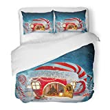 SanChic Duvet Cover Set Amazing Fairy House in Elfs Hat Decorated at Christmas Shape of Tea Cup with Opened Door and Fireplace Decorative Bedding Set with Pillow Sham Twin Size