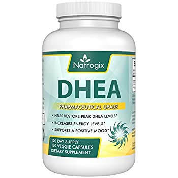 (120 Vcaps) Pure DHEA 60mg Supplement by Natrogix, Supports Balanced Hormone Levels For Men & Women, Promote Healthy DHEA Levels for Healthy Aging, Non-GMO Formula