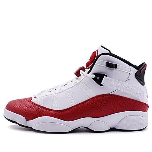 NIKE Men's Jordan 6 Rings Basketball Shoes White/Black-University Red 7.5