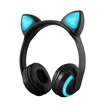 Docooler ZW-19 Auriculares Bluetooth Inalámbricos Glowing Cat Audífonos Auriculares de Música Estéreo Manos Libres w/Mic Colorful Light Diadema Ajustable ...