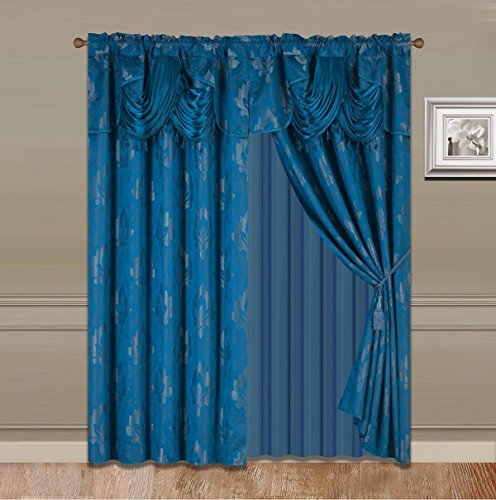 "Elegant Home Window Curtain Drapes All-in-One Set with Valance & Sheer Backing & Tassels for Living Room, Bedroom, Dining Room, and Sliding Doors - 1631 (Blue, 120"" X 63"")"