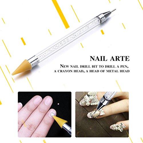LtrottedJ 1Nail Art Dotting Pen ,Acrylic Rhinestone Crystal Tools Set Painting 2 Way Brush