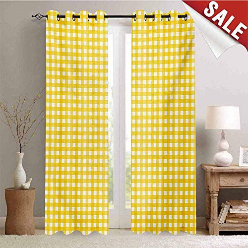- Hengshu Checkered Tablecloth Window Curtain Fabric Classic English Pattern in Yellow Picnic in Summertime Theme Retro Striped Drapes for Living Room W72 x L84 Inch Yellow White