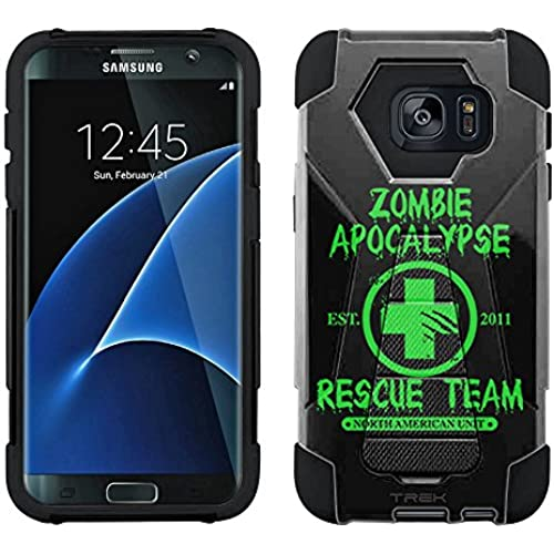 Samsung Galaxy S7 Hybrid Case Zombie Apocalypse 2012 Rescue Team Green on Black 2 Piece Style Silicone Case Cover Sales