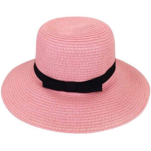 Hat Fedora Pink (JOYEBUY Womens UPF50 Foldable Summer Straw Hat Wide Brim Fedora Sun Beach hat (Style C-Pink))