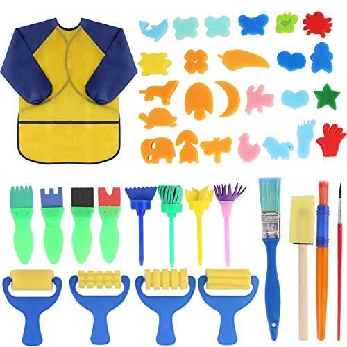 Early Learning Kids Paint Set,42pcs Sponge Painting Brushes Kit Sponge Drawing Paint Tools for Toddler with Painting Smock Apron (Sponge Painting Set)