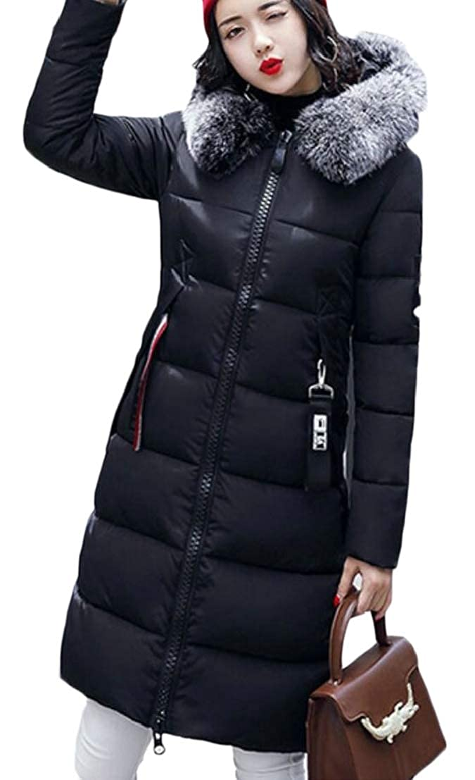 Generic Womens Faux-Fur Collar Parka Front-Zip Thick Padded Casual Down Jacket Coat