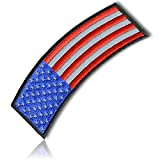 "[Single Count] Custom and Unique (4.0 X 2.0 Inches) ""Patriotic"" Reflective Stars and Stripes National American Flag Iron On Embroidered Applique Patch {Red, White, Blue and Black Colors}"