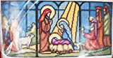 Sunset Needlepoint Kit Stained Glass Nativity Christmas Picture By Wayne Maurer #6090 1973