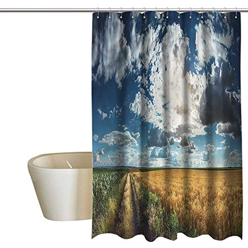 Denruny Shower Curtains for Bathroom Bamboo Country,Agricultural Panorama Wheat,W72 x L96,Shower Curtain for Girls - Curtain Bamboo Wheat