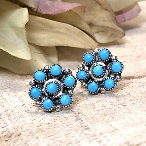 Genuine Sleeping Beauty Turquoise Stud Earrings, 925 Sterling Silver, Authentic Navajo Native American Handmade in the USA, Natural Stone, Small and Dainty for Women, Light Blue, Southwest Jewelry