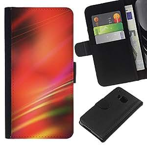 All Phone Most Case / Oferta Especial Cáscara Funda de cuero Monedero Cubierta de proteccion Caso / Wallet Case for HTC One M7 // Blurred Red Lines Black Abstract