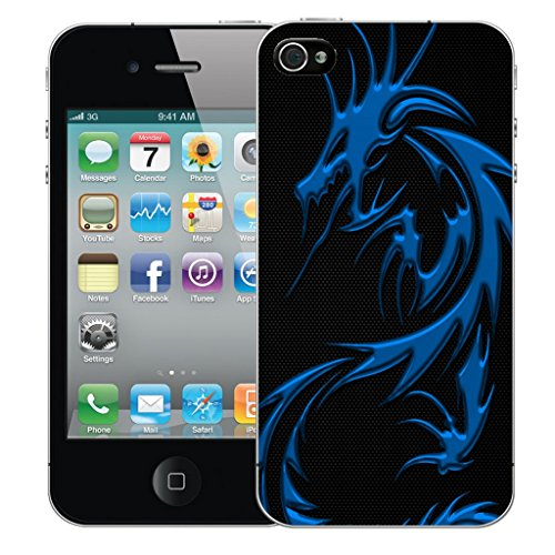 Mobile Case Mate iPhone 4s Silicone Coque couverture case cover Pare-chocs + STYLET - Blue Dragon pattern (SILICON)