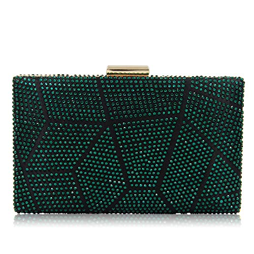 Imitated Superw Chain Bags Colored Women Party Silk Clutch Evening Bag Wedding Handbags Purse Clutches Green Crystal BBtqaF