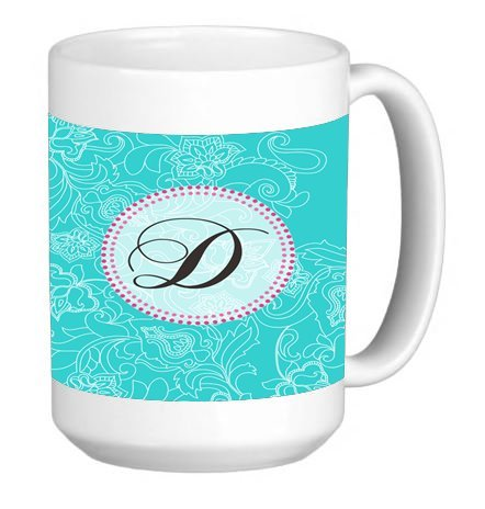 Monogram Letter D Swirl Pattern 15 ounce Ceramic Coffee Mug Tea Cup (15 Swirl Oz Mug)