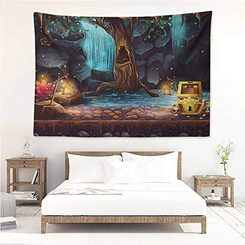 Fantasy,Wall Decor Tapestry Cartoon Style Cave Landscape with a Big Tree Treasure Chest Lamps and Waterfall 80W x 60L Inch Tapestry Wallpaper Home Decor Multicolor - Pentagram Treasure Chest
