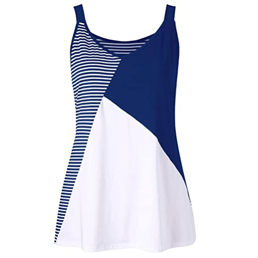 75c8361cd6e Amazon.com  WOCACHI Women Blouse Sleeveless Plus Size Stripe Patchwork Tank  Top Vest O-Neck T-Shirt  Clothing