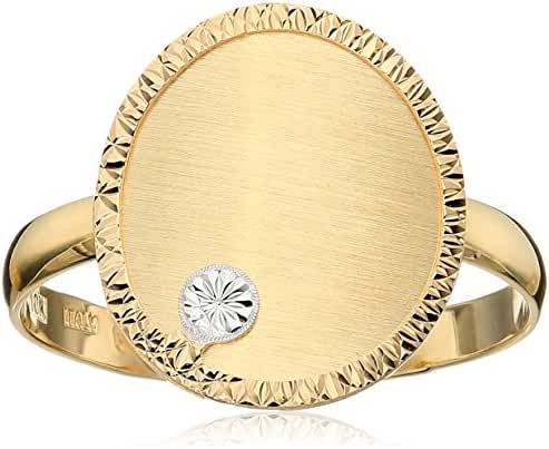 10k Yellow Gold Two-Tone Ring, Size 7