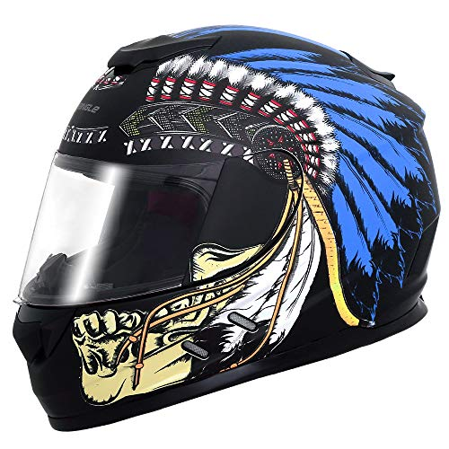 Triangle Full Face Lightweight, Aerodynamic, Comfortable Street Bike Motorcycle Helmets DOT Approved (Small, Indian Blue)