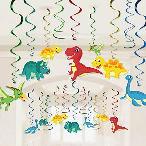 (30 Ct Dinosaur Hanging Swirl Decorations - Dinosaur Themed Baby Birthday Party Supplies Ornaments for Baby Shower Boy's Birthday Decoration)