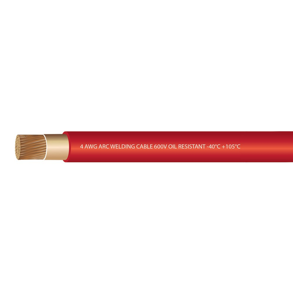 4 Gauge Premium Extra Flexible Welding Cable 600 VOLT RED 20 FEET EWCS Branded Made in the USA