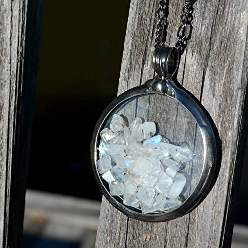 Large Moonstone Necklaces for Women or Men Moonstones Encased in Vintage Pocket Watch Crystals Unique Jewelry Gift Ideas June Birthstone Long Pendant Necklace 2802