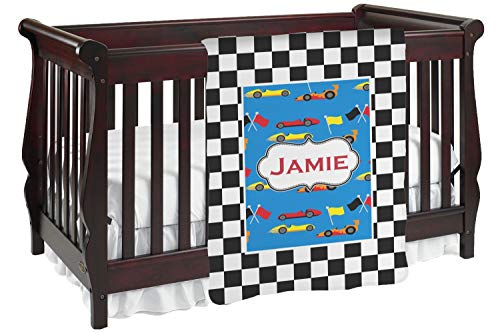Checkers & Racecars Baby Blanket (Single Sided) (Personalized)